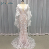 Sexy Boho Wedding Dresses 2017 Scoop Sheer Front Lace Flower Beaded Mermaid Wedding Dresses With Cape