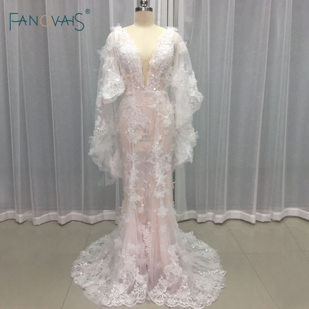 Sexy boho wedding dresses 2017 flower beads lace summer for Bohemian mermaid wedding dress