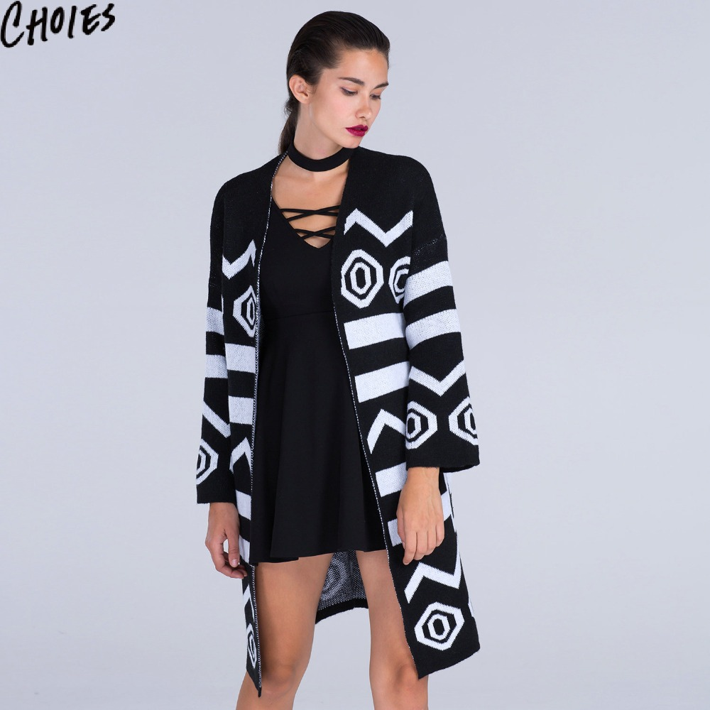 309dc899f0 Women Black Longline Cardigan Geo Loose Casual Long Sleeve Knitted .