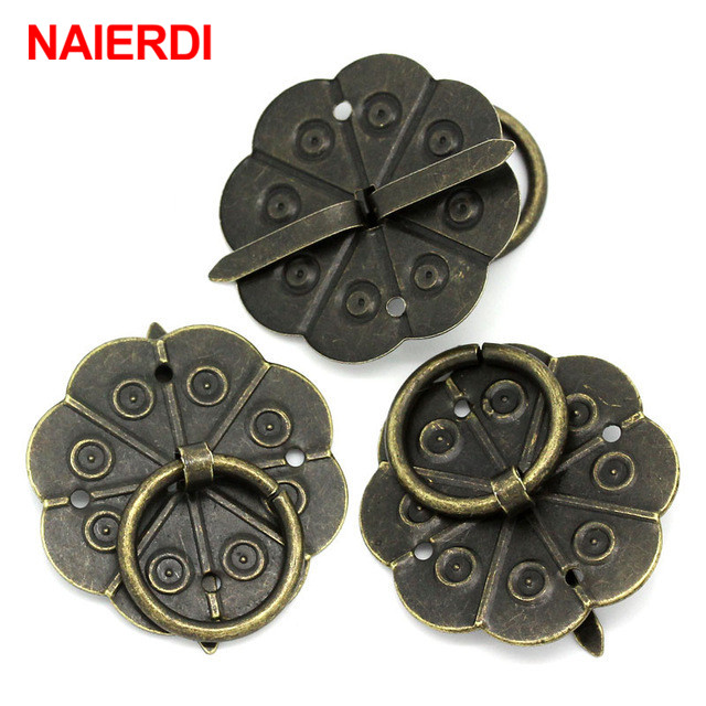 NAIERD 10pcs Classical Bronze Tone Quincunx Drawer Cabinet Desk Door Pull Box Handle Knobs Furniture Handles Hardware With Screw 10pcs gold mini butterfly door hinges cabinet drawer jewellery box hinge furniture hinge s diy hardware tools mayitr