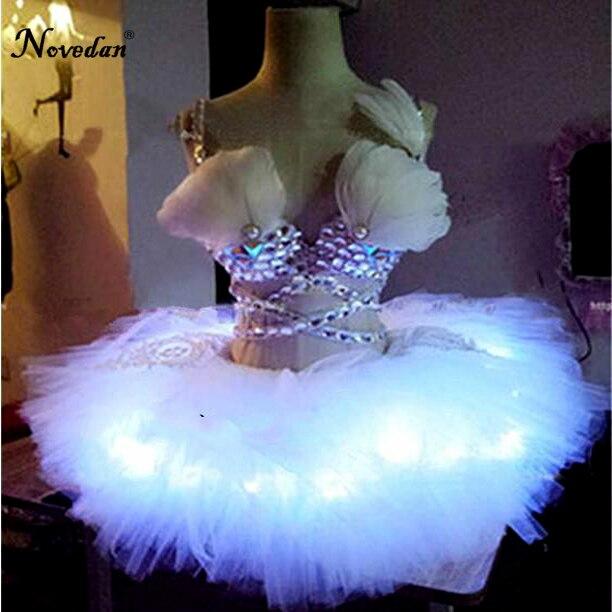 Pero kristali Rhinestones krila Led obleka Performance Led kostum za - Odrska in plesna oblačila