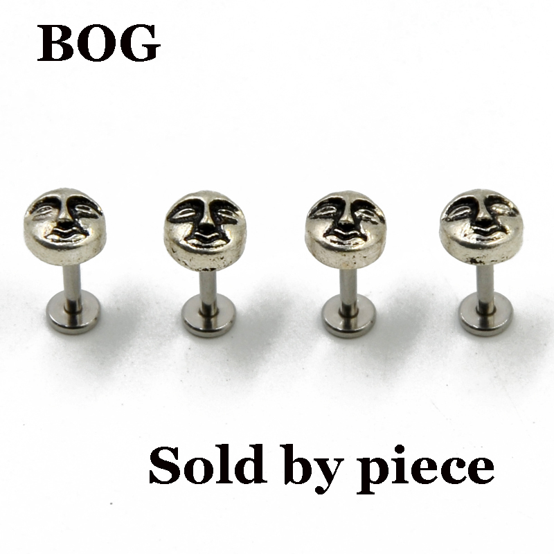 BOG-Vintage Sun Internally Thread Monroe Labret Lip Ring Stud Ear Tragus Cartilage Earring Body Jewelry 16g