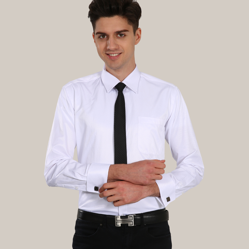 French cuff button formal dress shirt high quality non for Mens french cuff shirts