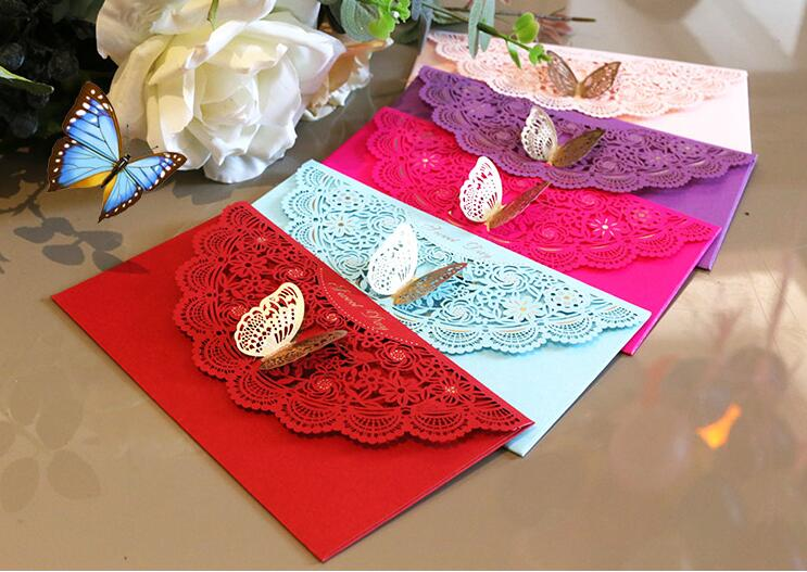 Freeshippinghotsale 2pcs butterfly decor red packet for Wedding invitation envelopes for sale