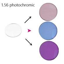 1,56 photochrome myopie sonnenbrille rosa blau lila farbe film gedimmt myopie harz brillen rezept linsen für augen