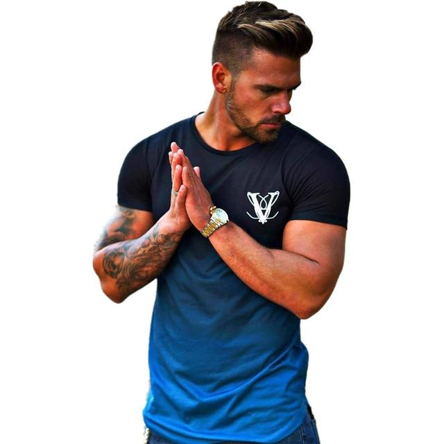 YEMEKE модный градиентный цветной футболка для мужчин, быстро компрессионная дышащая мужская футболка с коротким рукавом для фитнеса спортивный костюм, облегающий Повседневный Топ