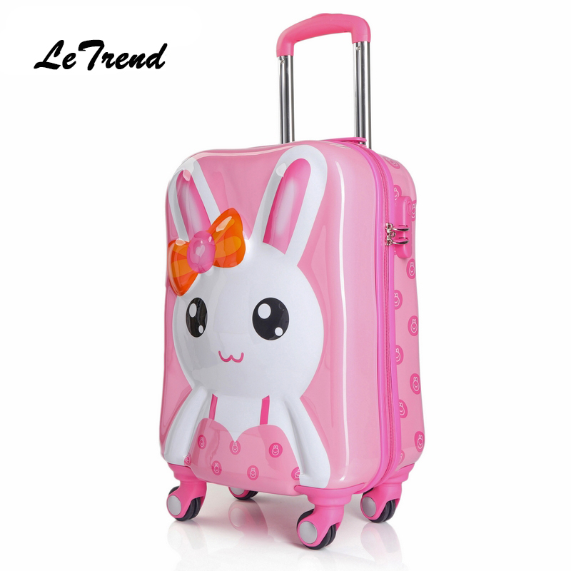 Children Rolling Luggage Spinner Travel Duffle Kids Suitcase Wheels Cute Cartoon Trolley 3D Cabin School Bag Trunk