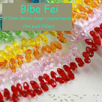 Free shipping 50 colors 8*13mm 100PCS Glass Czech Teardrop crystal beads,Waterdrop Crystal beads, necklace Jewelry Making DIY