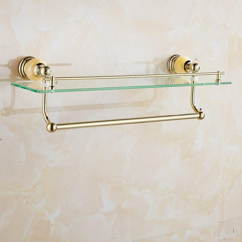 62 Jade Série Prateleiras Do Banheiro de Ouro Polido Acessórios Do Banheiro Suporte de Toalha de papel Toalha Bar & Gancho Com Limpeza De Vidro Prateleira - 3