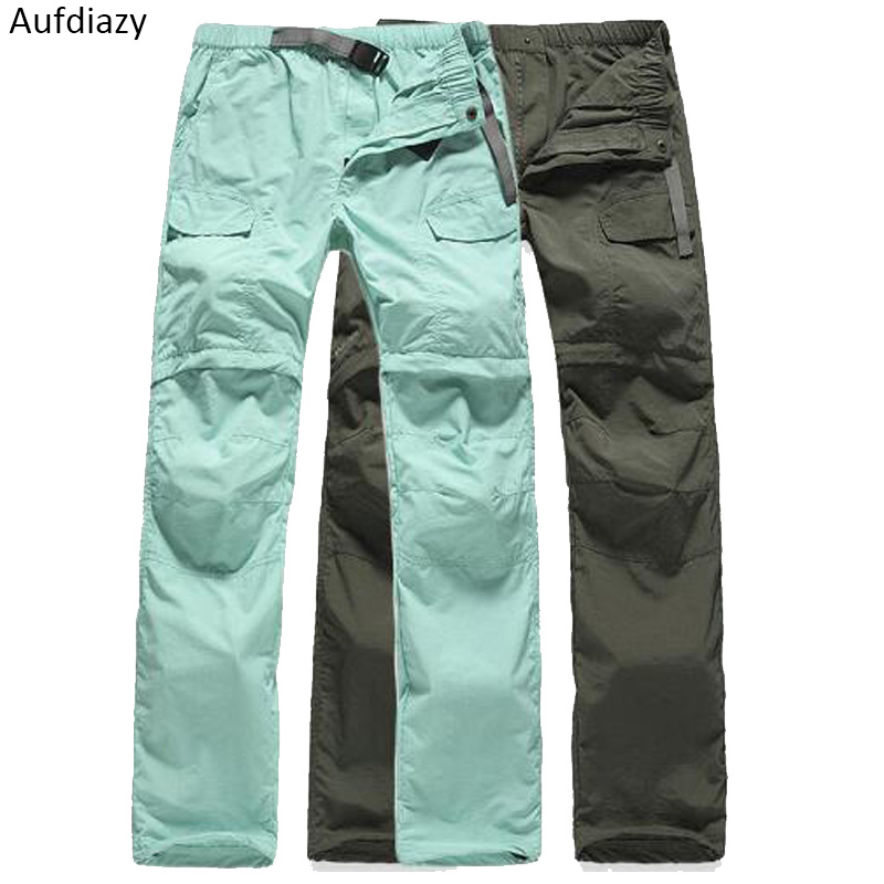 Aufdiazy Women's Removable Breathable Quick Dry Outdoor Hiking Pants Female Trekking Sport Trousers Camping Shorts Pants JW016