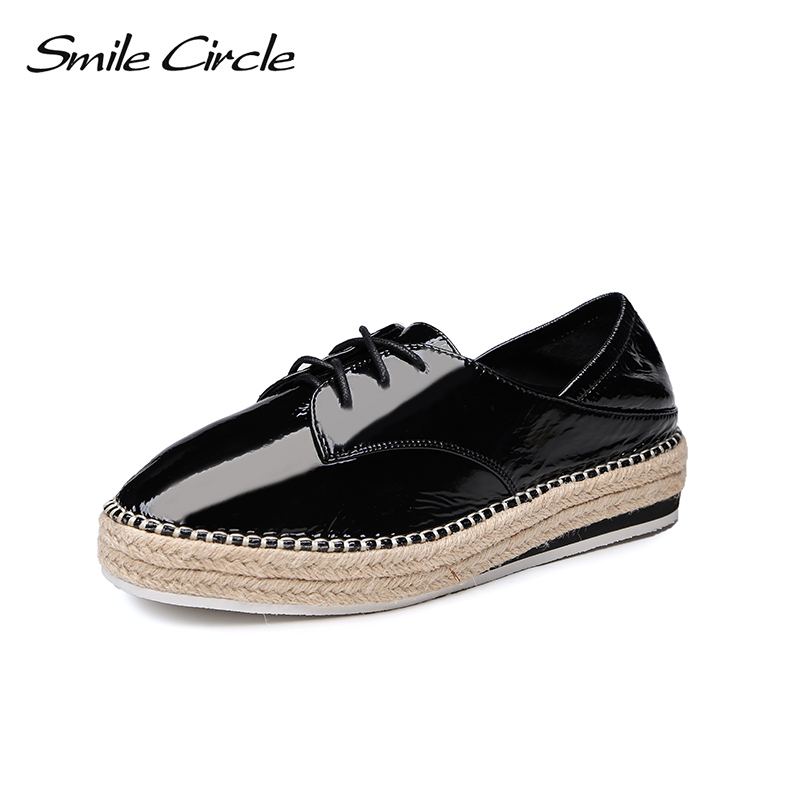 Smile Circle 2018 Women Oxford Shoes Patent leather Lace-up Flats Shoes Women Genuine Leather Shoes Flats Casual womn Shoes beffery 2018 spring patent leather shoes women flats round toe casual shoes vintage british style flats platform shoes for women