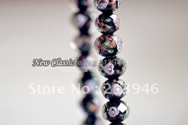 10*8MM 96Pcs/Lot Black Inner Flower Crystal Rondelle Bead Lampwork Glass Loose Beads Jewelry Component Fittings