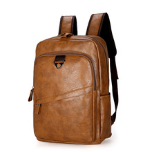 Soft leather men backpack Student school bag large capacity laptop backpack outdoor sports travel backpack Fashion vintage bag недорого