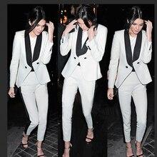 New Fashion 2016 Autumn Winter Ladies White Suit Blazer Women Outerwear Business Basic Jacket Coat Pants Female OL Blazers