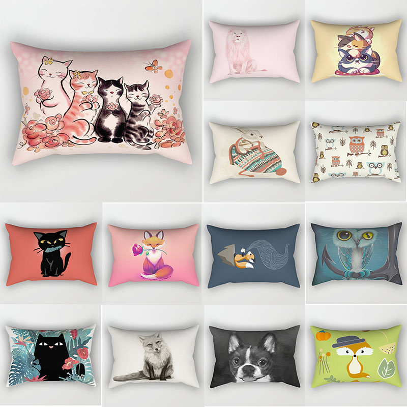 Fashion beauty cats pattern pillow cases two sides printing  rectangle bedroom pillow cases dogs owl travel pillow cover 70*50cm|Pillow Case| |  - title=