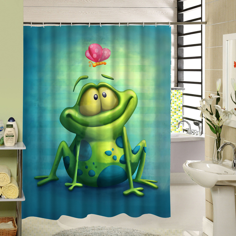 Cartoon Frog Shower Curtain Polyester Eco Friendly