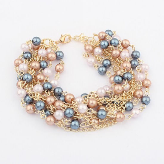 2015 New Fashion High Quality Colorful Simulated Pearl Charm Bracelets Bangles Pearl Accessories for Women Ladies Free Shipping