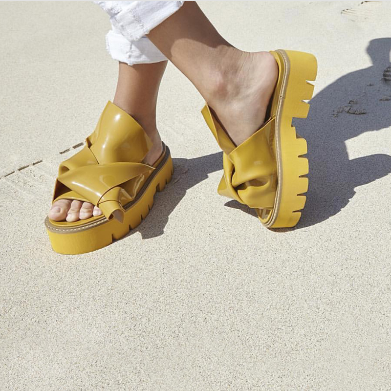 Boldees Trendy Women Slides Yellow Knot Flat Platform Sandals Chunky Heel Flats Summer Beach Shoes Outside Party Casual Slippers trendy women s sandals with sequins and chunky heel design