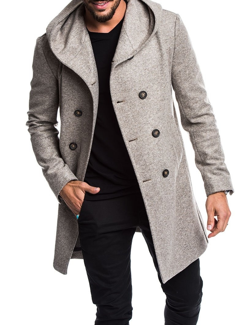 Spring New Winter Fashion Men's Solid Color Double Breasted Coat Male Casual Slim Fit Male Long Woolen Cloth Standard Coat