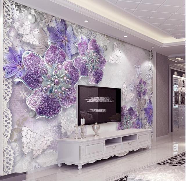 Aangepaste Mural Behang Voor Slaapkamer Muren 3D Paars Europese ...