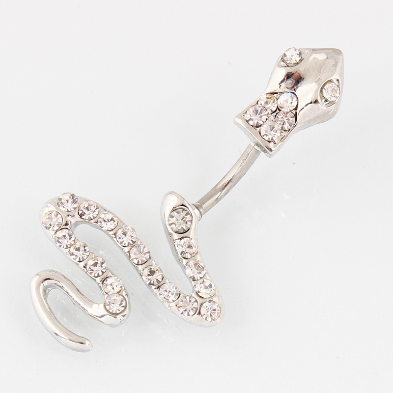 Retail Snake belly button ring fashion lady body piercing navel ring jewelry belly bar 14G 316L surgical steel bar Nickel-free
