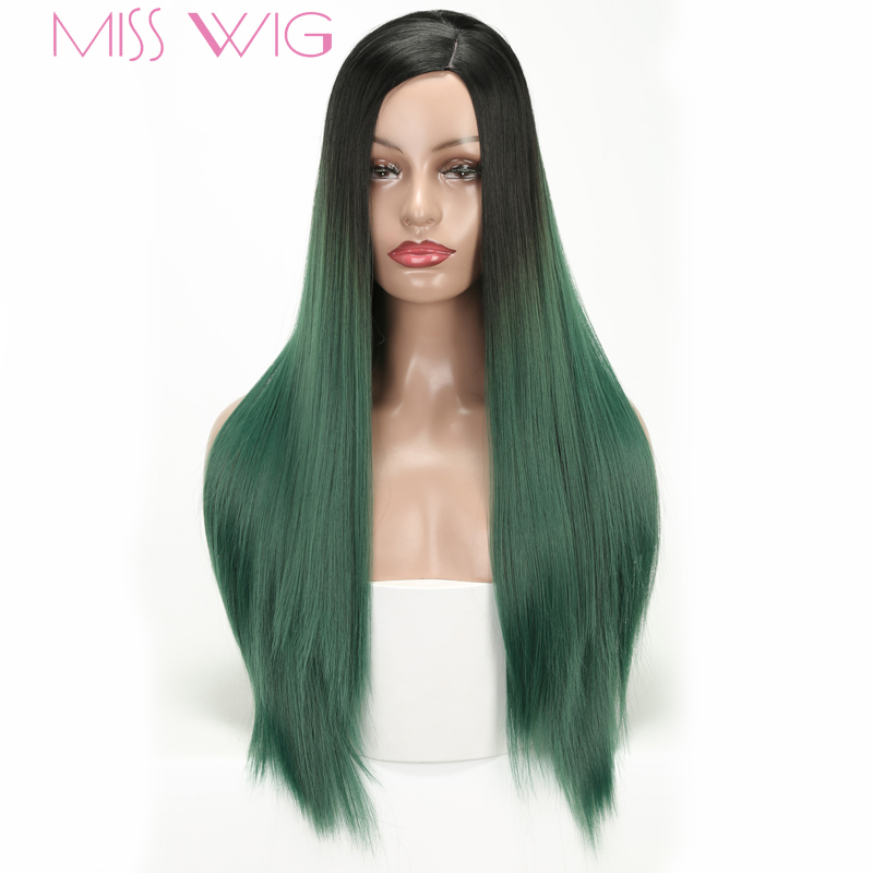 MISS WIG Long Green Straight Wigs Synthetic Hair Wig For Women Black Ombre Red Purple Grey Color High Temperature invisible bra