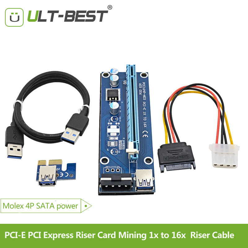 ULT-Best PCI-E PCI Express Riser Card Mining 1x to 16x USB 3.0 Cable SATA to 4Pin IDE Molex Power Supply for BTC Miner Machine for btc miner machine pci e extender pci express riser card 1x to 16x usb 3 0 sata to 4pin ide molex power supply raiser 60cm