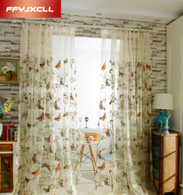 Hot Sale butterfly Embroidered Tulle Curtains for Living Room Window Curtains for Bedroom Kitchen Sheer Voile Drapes