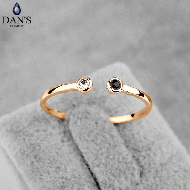 DAN'S ELEMENT Simple Lovely Austria Crystal Copper Gold Color Fashion Rings for