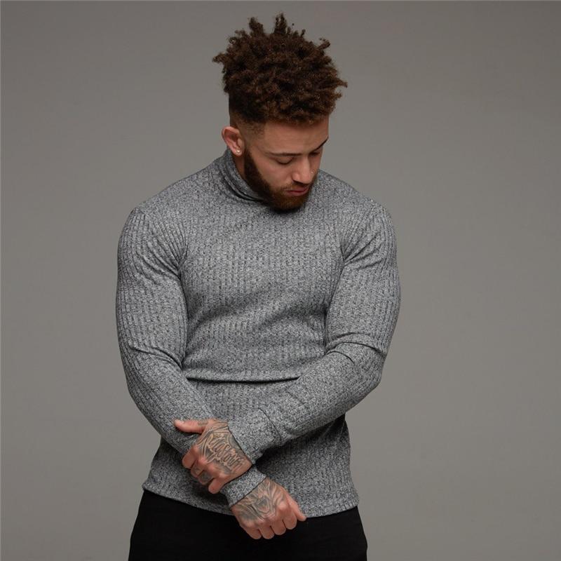 tricô camisola de manga longa elástico magro