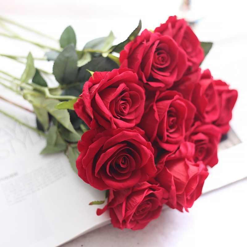 10 шт./лот цветочный латекс Настоящее сенсорный Розы Искусственные цветы Шелковые цветы розы свадебный букет украшение для дома вечерние цветы невесты