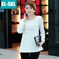 2015 женщин элегантный Случайные Рубашки с длинным Рукавом Крючком Цветочные Топы Блузки Размер XL-5XL Повседневная Blusas Femininas Старинные S1695