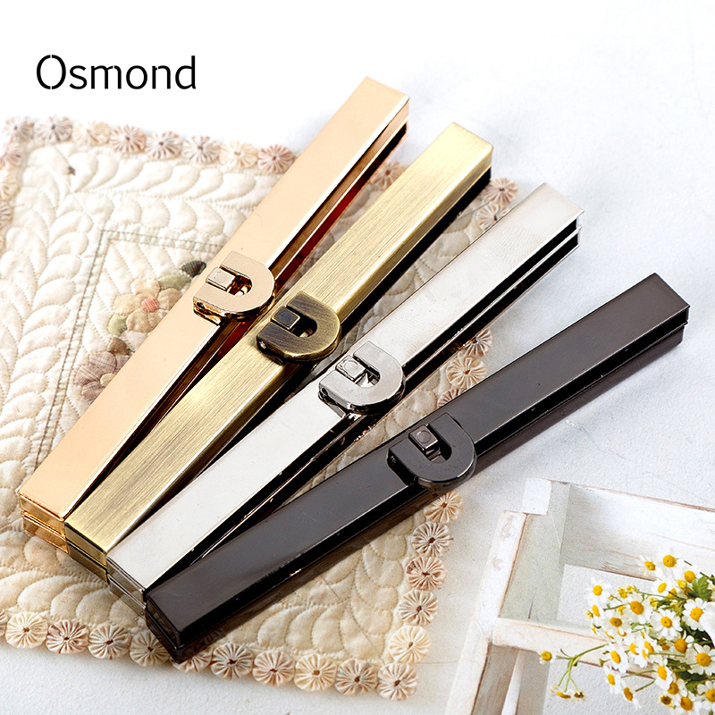 цена Osmond DIY Hardware Antique Tone Twist Lock Metal Clasp Turn Lock Gold Black Alloy Twist Lock Closure for Bag Parts 19cm/11.4cm