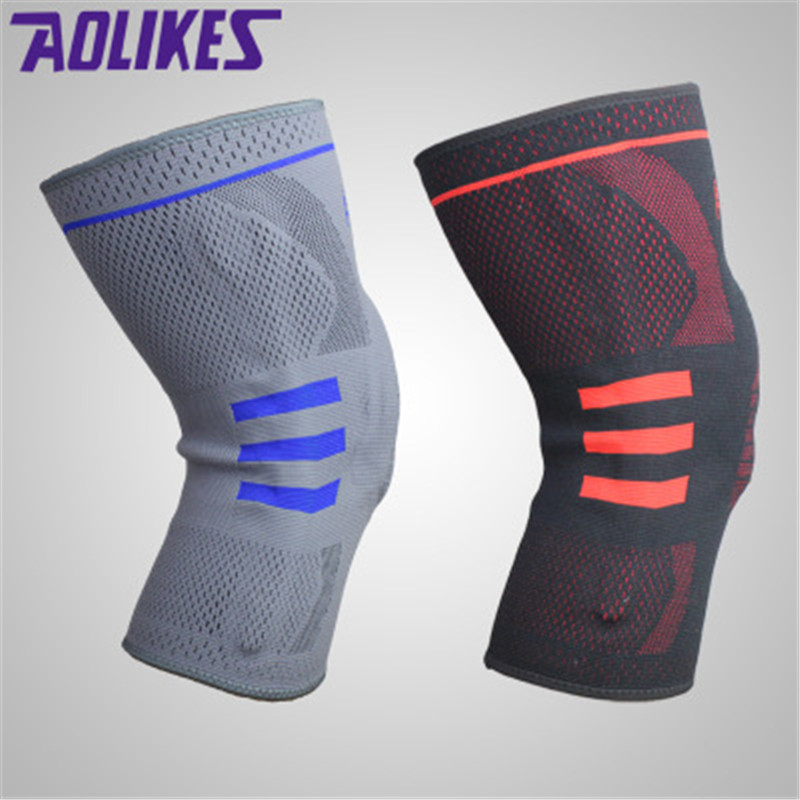 Aolikes 7mm Thickened Silicone Knee Pad Elastic Comfortable Breathable Knee Support Sleeves For Basketball Tennis Sports Safety ...