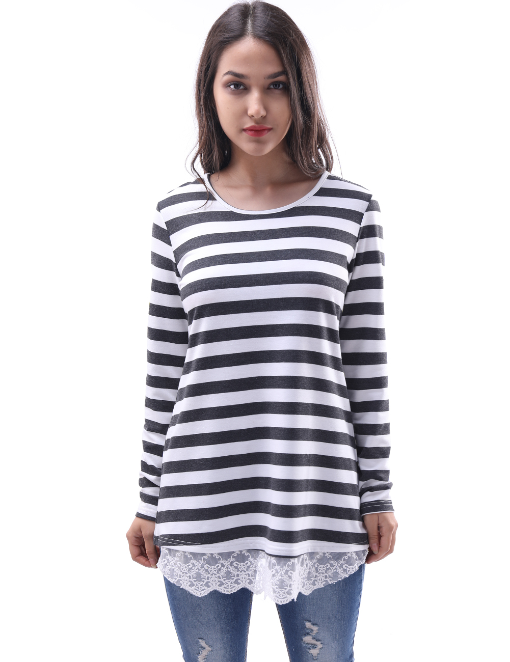 2018 Black And White Striped Blouse Shirts Knitted Women Tops Fashion Elegant Lace Long Sleeve Knitwear Female