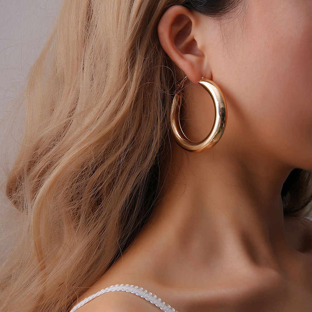 Popular Gold Punk Rock Minimalist Geometric 50mm Thick Tube Alloy Big Round Circle Hoop Earrings For Ladies Bijoux Female Gift