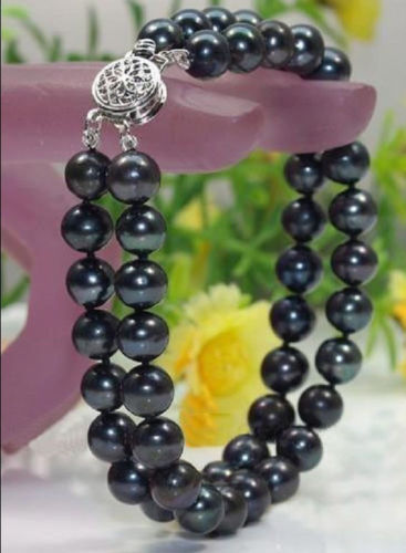 Fine 2 STRANDS 9-10MM SOUTH SEA BLACK PEARL BRACELET 7.5-8 INCH^^^@^Noble style Natural Fine jewe SHIPPING new >>free shipping