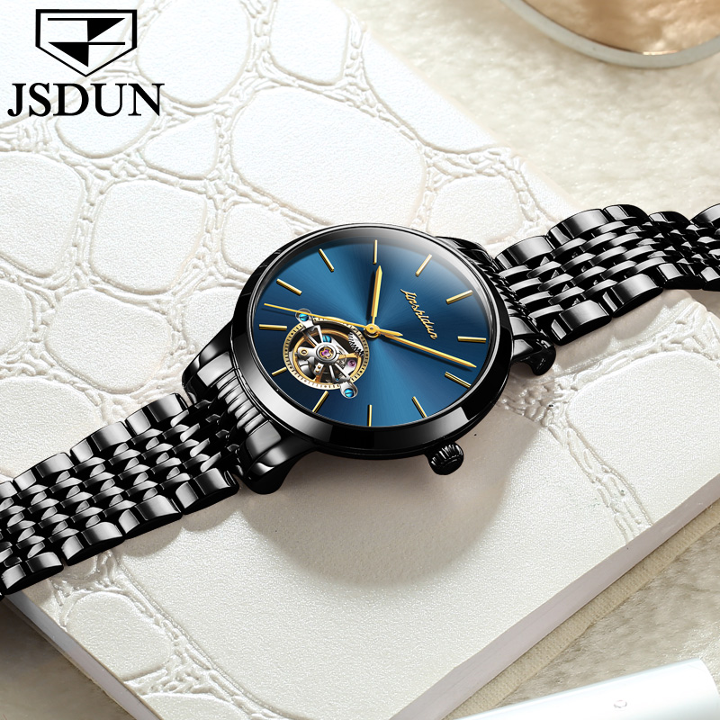 JSDUN Automatic Mechanical Watches Women Tourbillon Wrist Watch Fine steel Clock Female watch For Ladies Wristwatches 2018