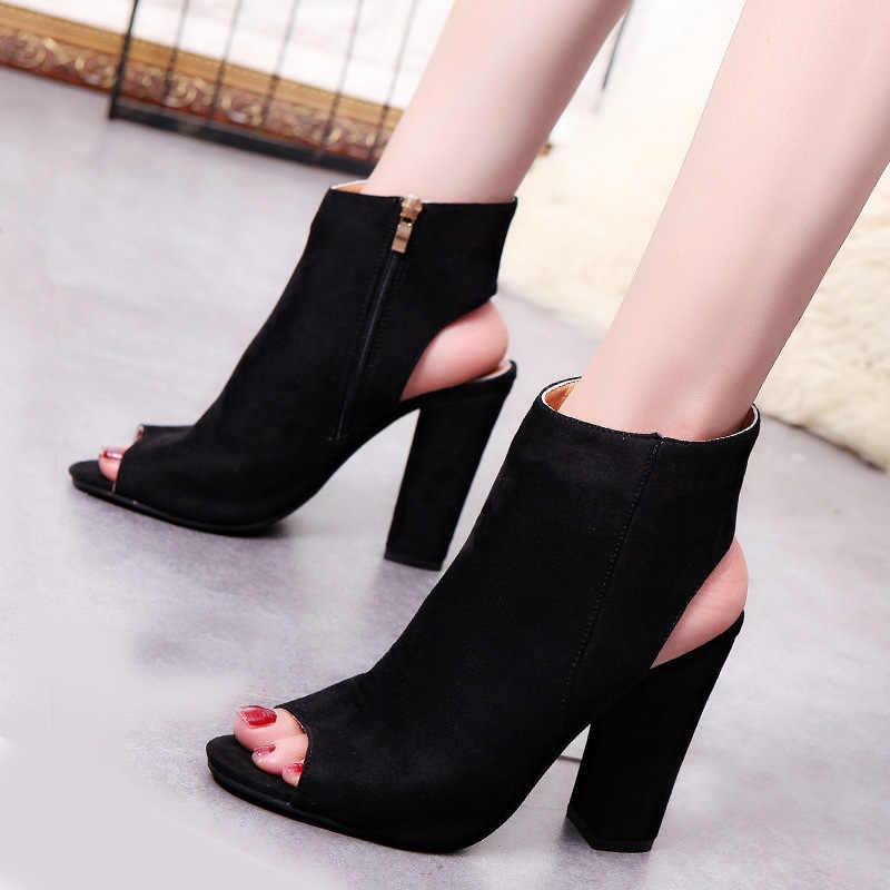 Yarım çizmeler Faux Süet Deri Rahat Açık Peep Toe Yüksek Topuklu Fermuar Moda kare kauçuk siyah ayakkabı Kadınlar Için Artı Boyutu 43