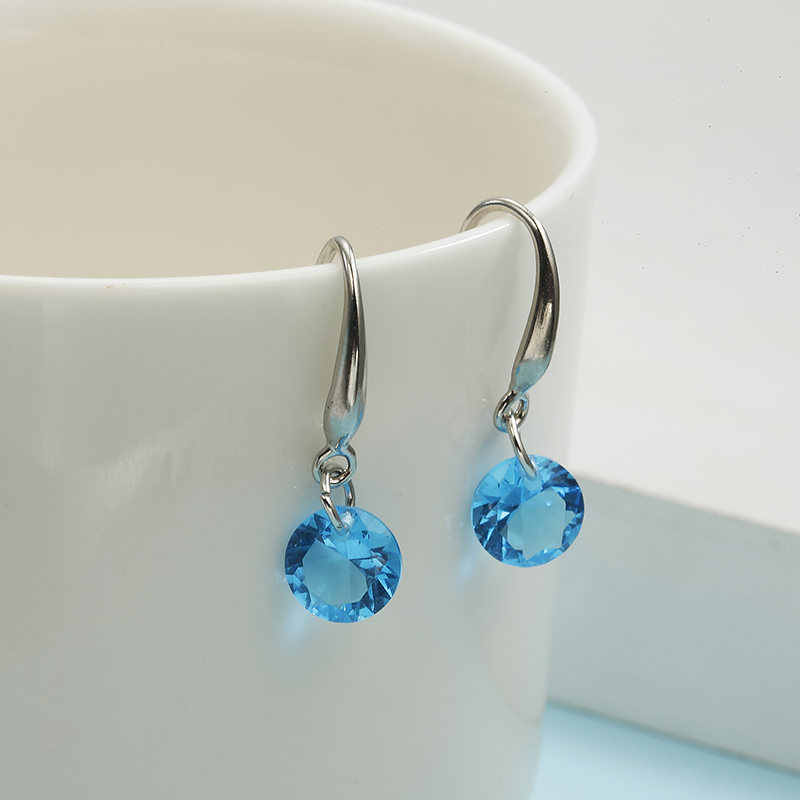 Fashion Silver blue red  color Earring For Women Crystal Cubic Zirconia Drop Earrings Stone Women Earrings Wedding Jewelry
