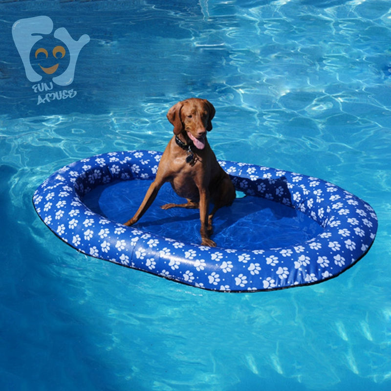140x90cm Large Inflatable Pet Dog Water Fun Toys Pool Floats Mattress Durable Oxford Cloth with Printing