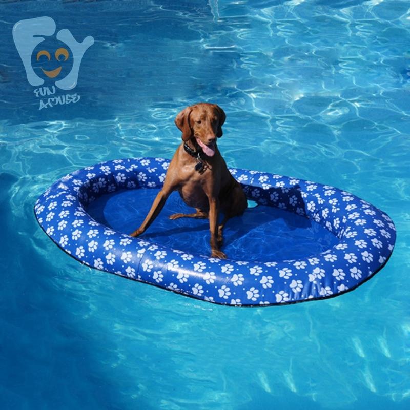 Tissu Durable d'oxford de matelas de flotteurs de piscine de jouets d'amusement de l'eau de chien d'animal familier de 140x90 cm grand avec l'impression