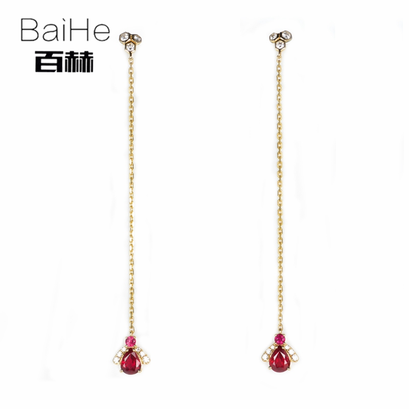 BAIHE Solid 14K Yellow Gold 4*5mm Pear Cut H/SI 100% Genuine Ruby Engagement Trendy Fine Jewelry Elegant Unique Stud Earrings все цены