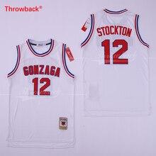 Throwback Men's John Stockton Jersey #12 GONZAGA BULLDOGS College Basketball Jersey Cheap