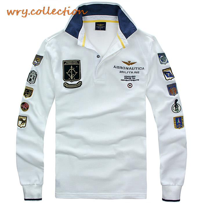 AERONAUTICA MILITARE   polos   man shirts Italy shirt with long sleeve ,air force embroidery casual shirts Free Shipping
