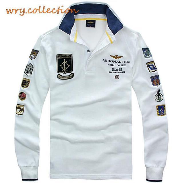 4f694e82828 AERONAUTICA MILITARE polo man shirts Italië shirt met lange mouw,  luchtmacht borduurwerk casual shirts Gratis