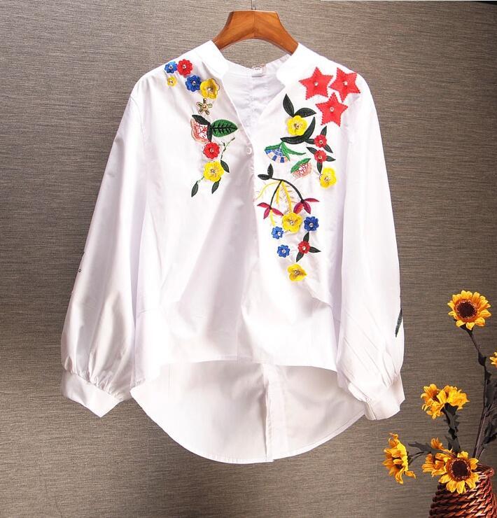 Femmes à manches longues printemps fleur broderie chemise femme vintage décontracté lâche lanterne manches grande taille blouse hauts TB181