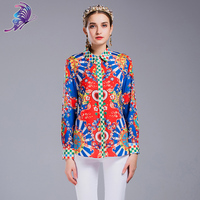 Runway Designer Women S Shirts 2017 Spring Brand High Quality Sicily Printed Full Sleeve Female