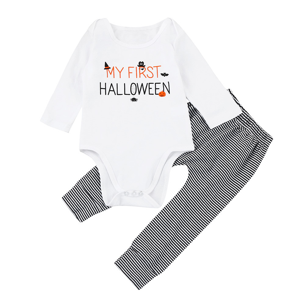 New Baby Clothes for Halloween Boys Girls Halloween Pumpkin Romper Jumpsuit+Pants Letters Clothes Set Bodies Para Bebes @7829