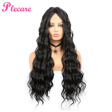 Plecare Synthetic Lace Front Wig Natural Hair Wig Pruik Black 28 Inches Deep Wave Super Long Wavy Synthetic Wigs For Black Women